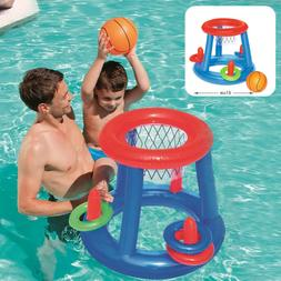 Swimming Pool Games Toys Float Inflatable Basketball Hoop+Bl