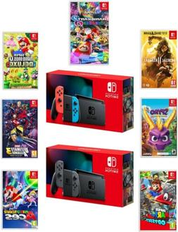 Nintendo Switch Console New 2019 Version with Choice of Game