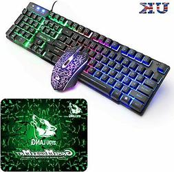 【UK Layout】Wired Rainbow Backlit Usb Gaming Keyboard + 2