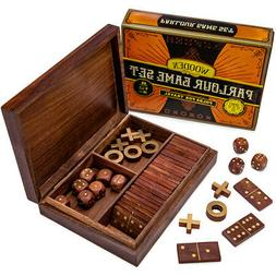 Vintage Wooden 3-in-1 Parlour Game Set | Dominoes, Tic Tac T