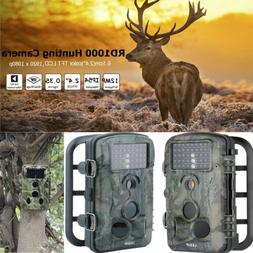 Waterproof 12MP 1080P HD Low Glow LED Game Trail Camera Nigh