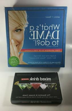 WHAT'S A DAME TO DO? Board Game & MIXED DRINK Smarts Card Ga