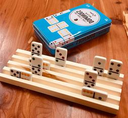 WOOD WOODEN DOMINO HOLDER MEXICAN TRAIN CHICKENFOOT 4 ROWS P