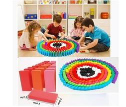 Kids Building Blocks Dominoes Set Wooden Tiles Fun Games Col