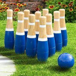 Wooden Lawn Bowling Set Outdoor Game Yard Bowl Wood 10 Pins