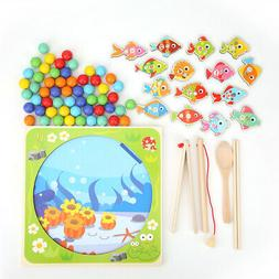 Wooden Magnetic Fishing Toy Game Set for 2 3 4 5 Year Old an