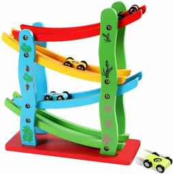 Wooden Ramp Racer Toddler Toys Race Track Car Games for 1 Ye