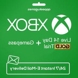 XBOX LIVE 14 Day GOLD + Game Pass  Trial Code INSTANT DISPAT