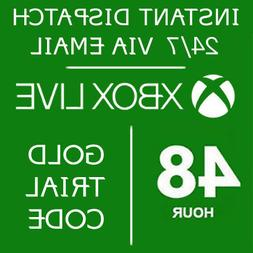 Xbox Live Gold 48hr 48hours 2 day Trial code Digital Deliver